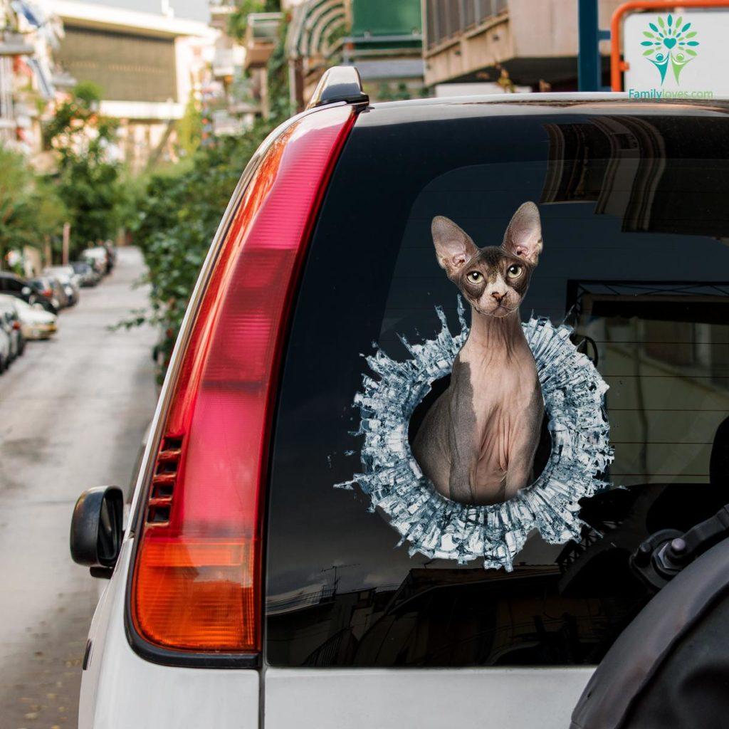 Sphynx Cat Car Decal And Broken Car Window Sticker, Car Window Decals Familyloves.com