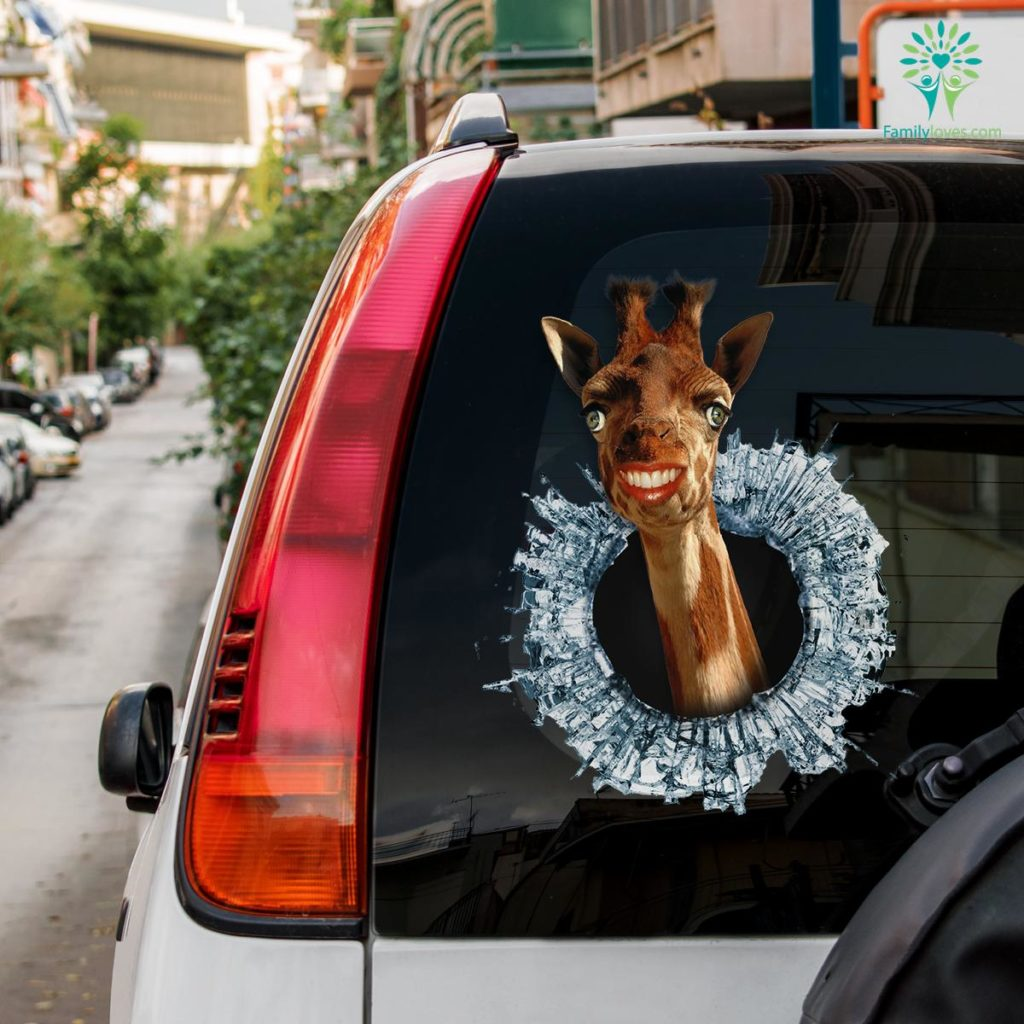 Funny Giraffe Car Decal And Broken Car Window Sticker, Funny Car Decals Familyloves.com