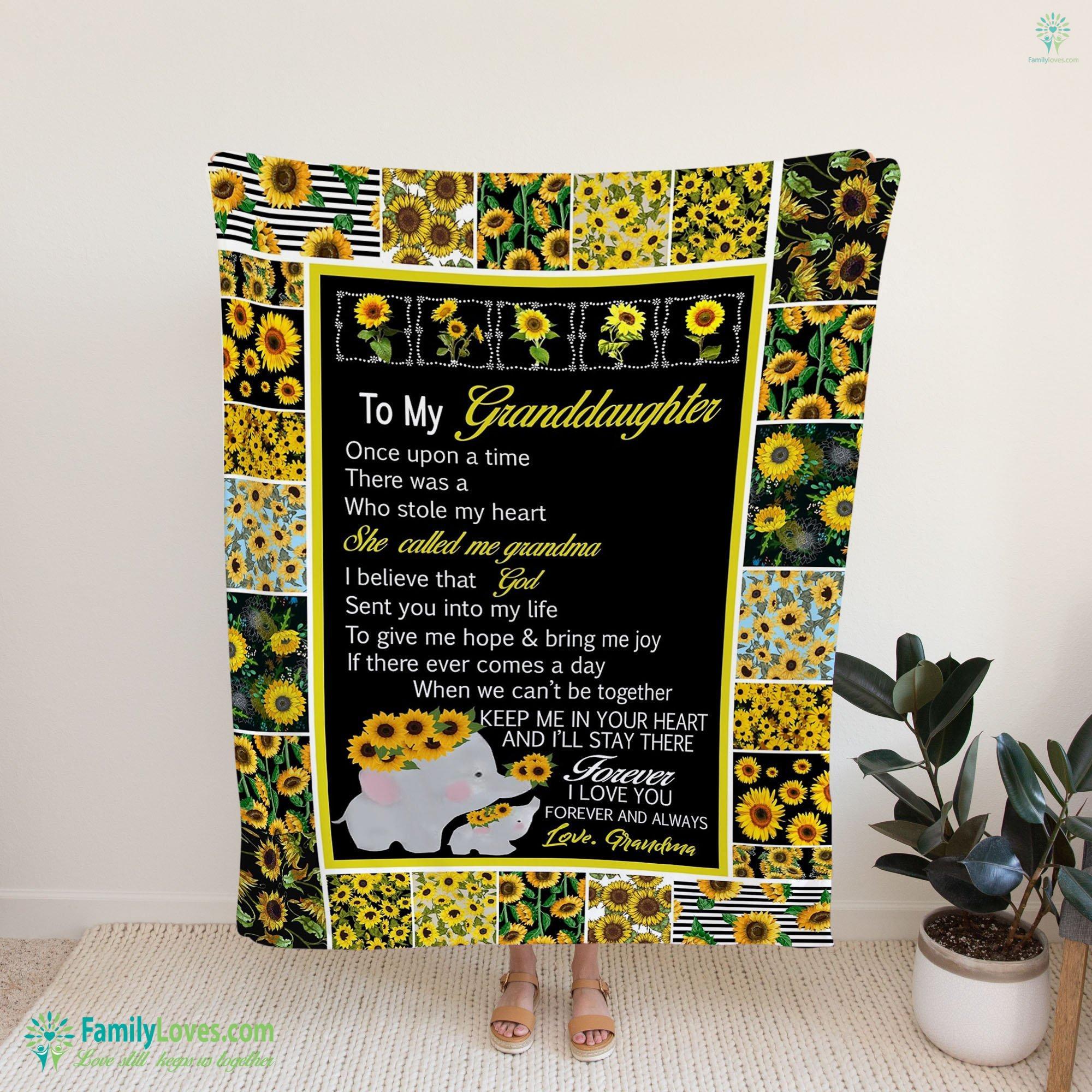 My Dear Granddaughter Fleece Blanket 17 Familyloves.com