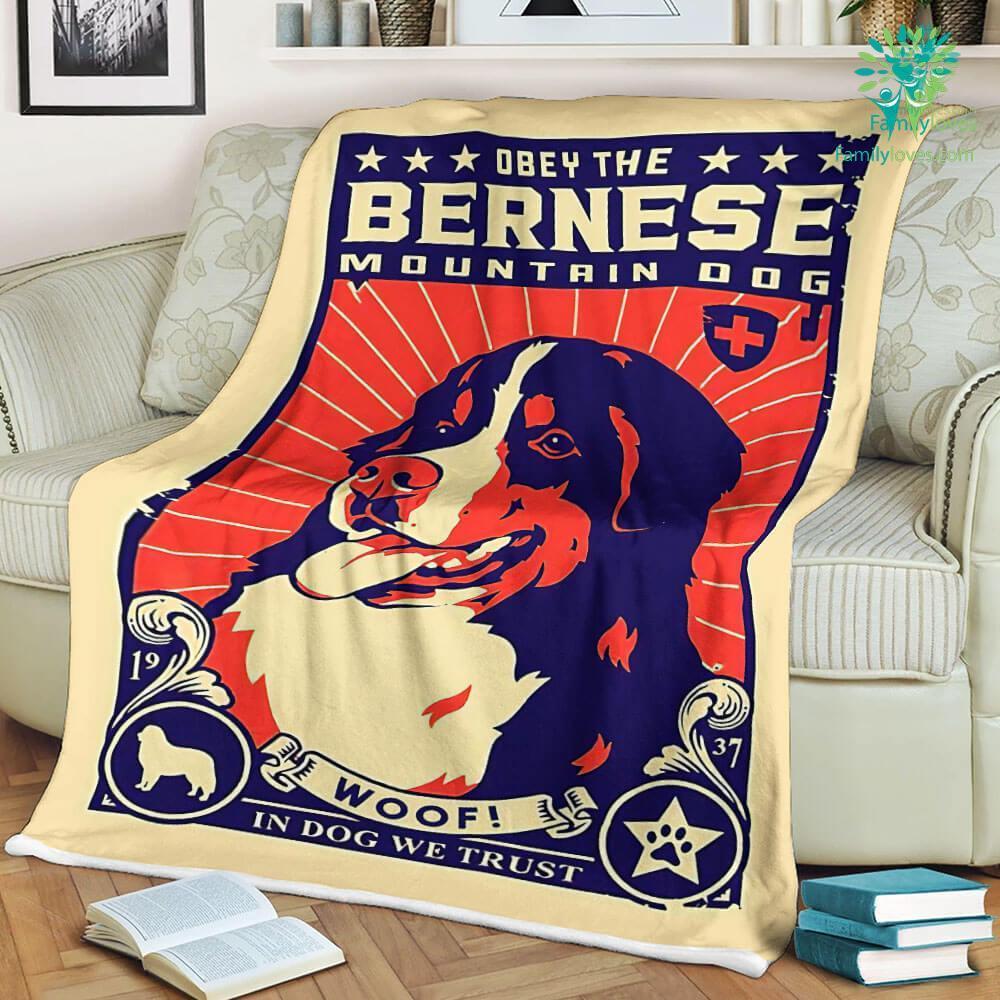 Obey The Bernese Mountain Dog Sherpa Fleece Blanket Familyloves.com