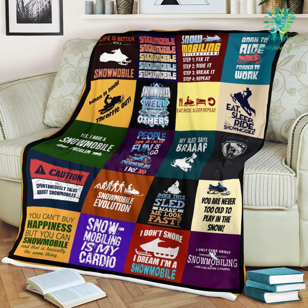 Snowmobile Sherpa Fleece Blanket Familyloves.com