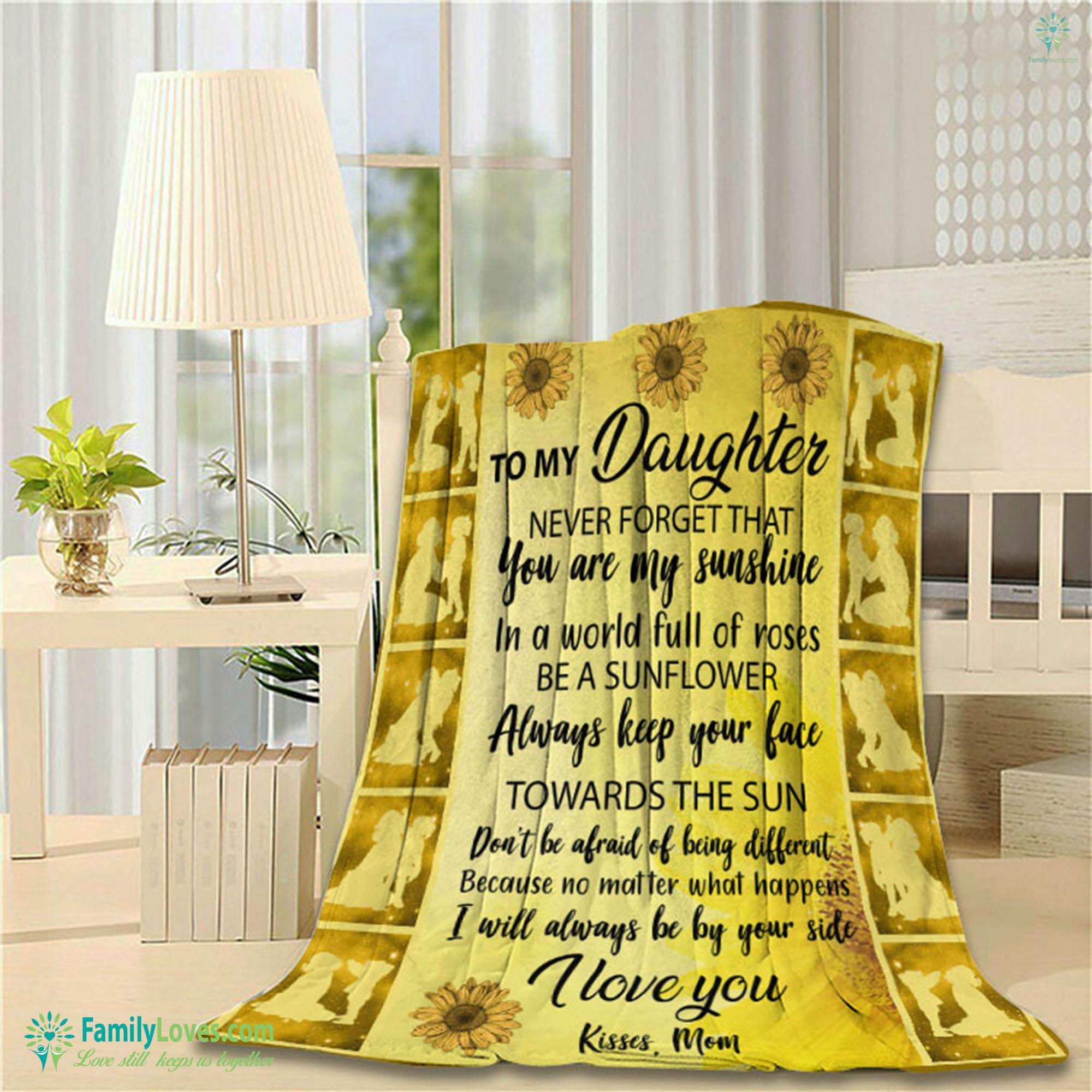 To My Daughter Kisses Mom Blanket 22 Familyloves.com
