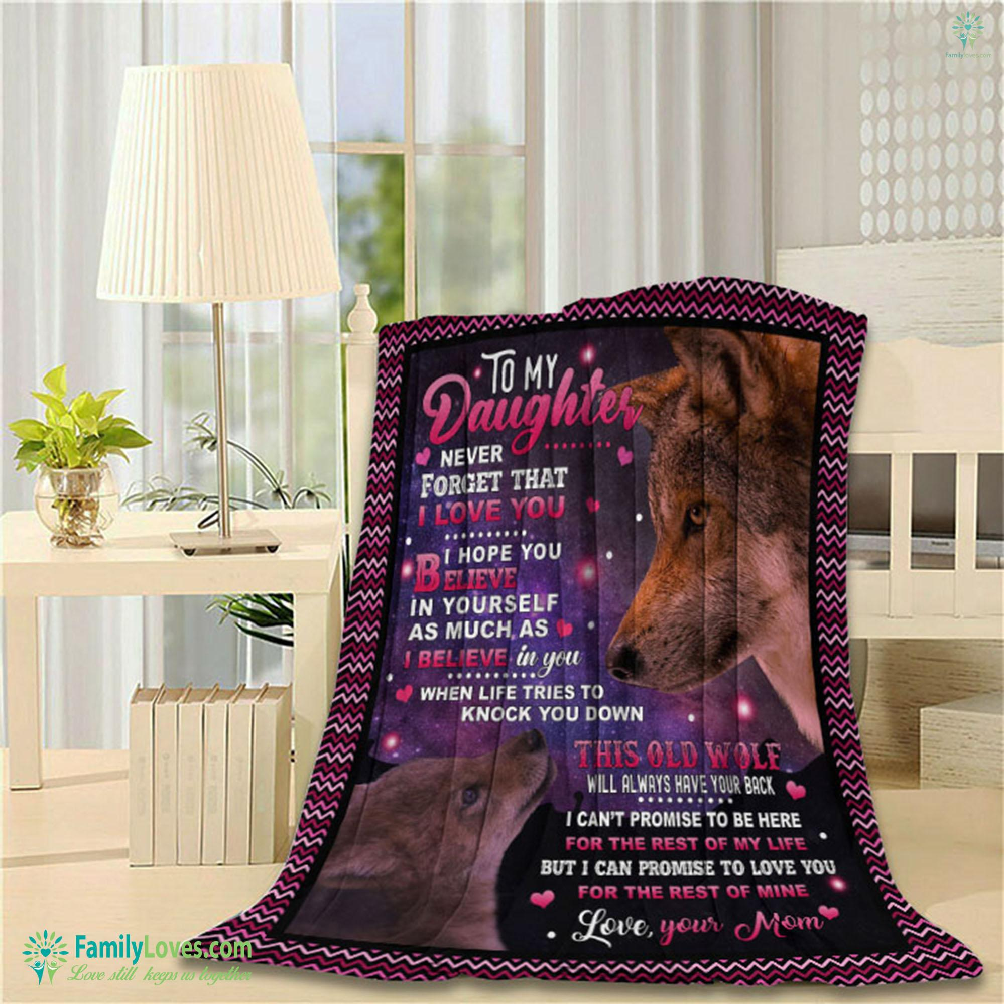 To My Daughter Wofl Blanket 7 Familyloves.com