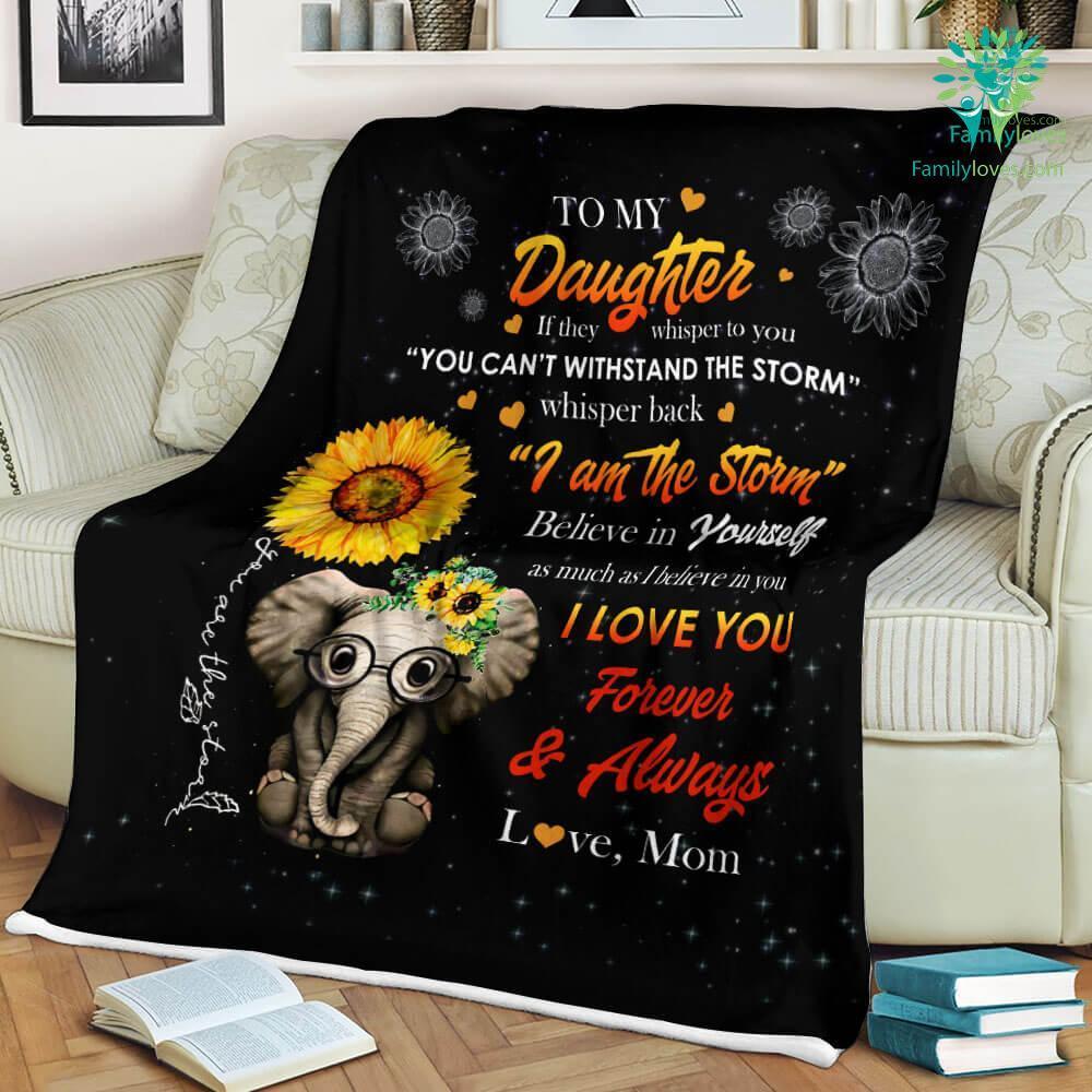 To My Elephant Daughter Love Mom Sherpa Fleece Blanket Familyloves.com