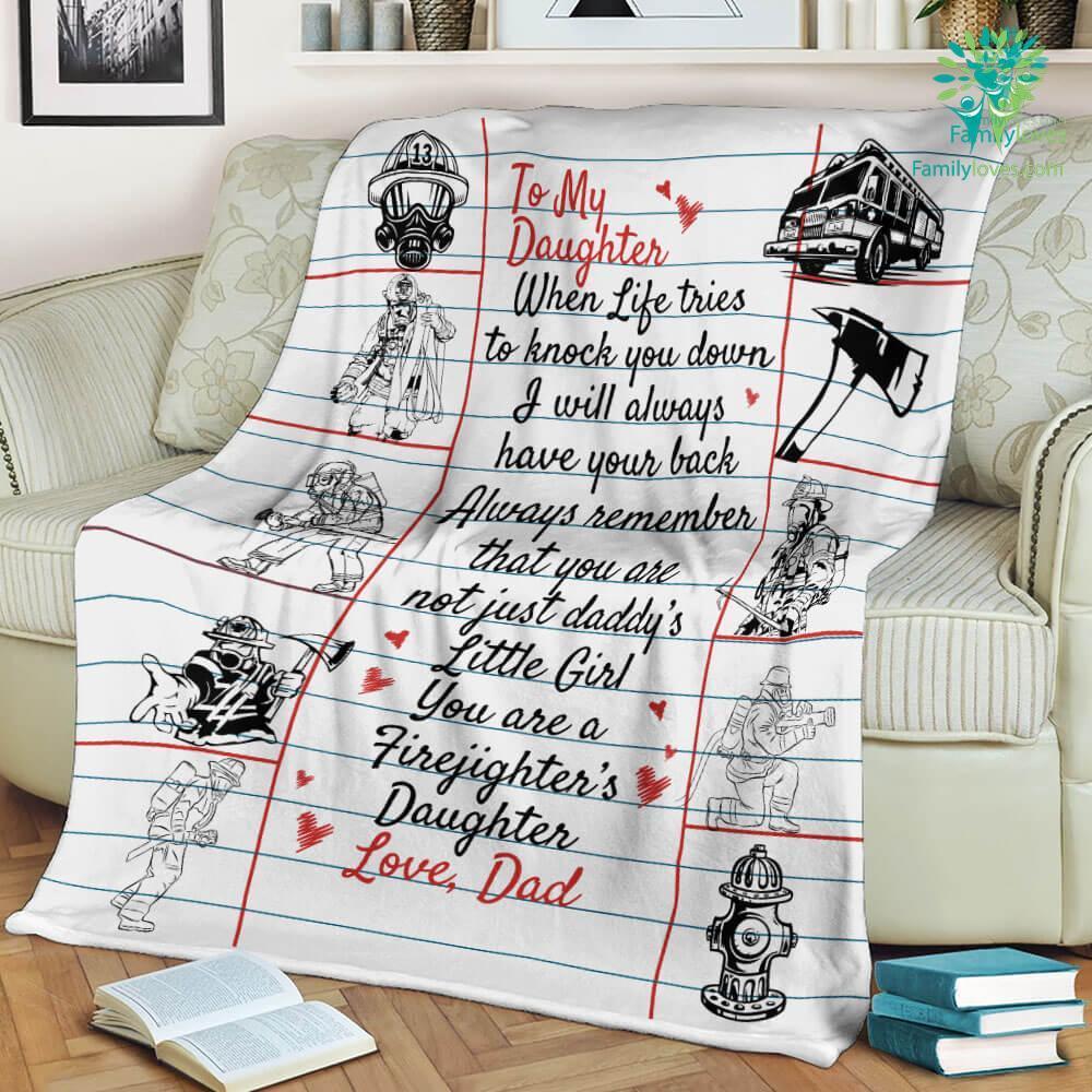 To My Firefighter Daughter Love Dad Sherpa Fleece Blanket Familyloves.com