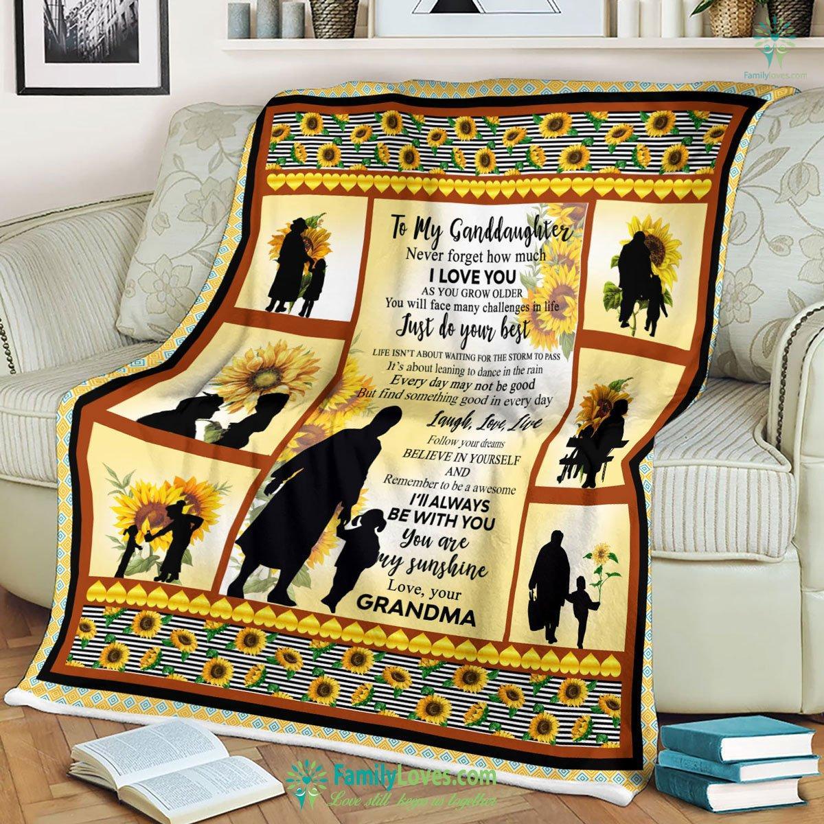 To My Granddaughter Softball Fleece Blanket 15 Familyloves.com