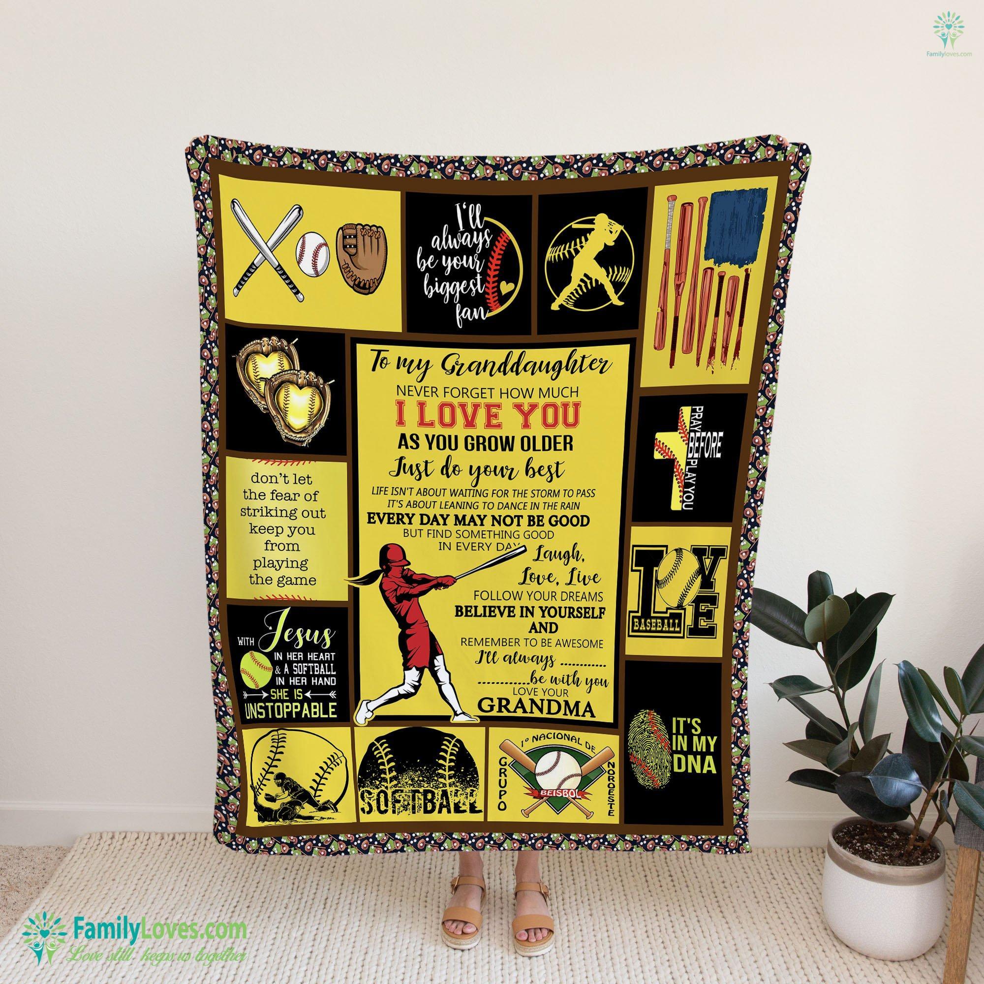 To My Granddaughter Softball Blanket 16 Familyloves.com