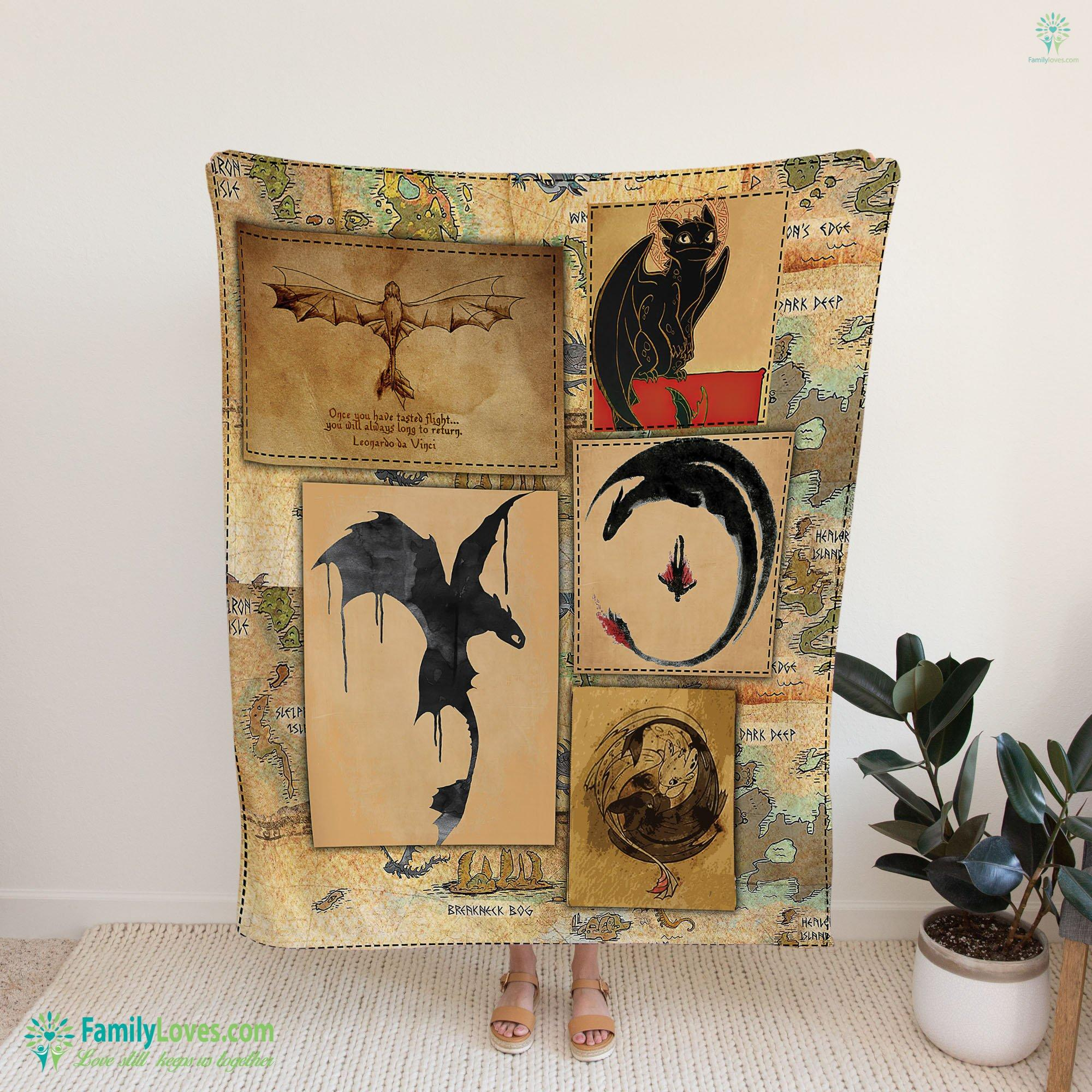 Vintage Vinking Dragon Map How To Train Your Dragon Blanket 4 Familyloves.com