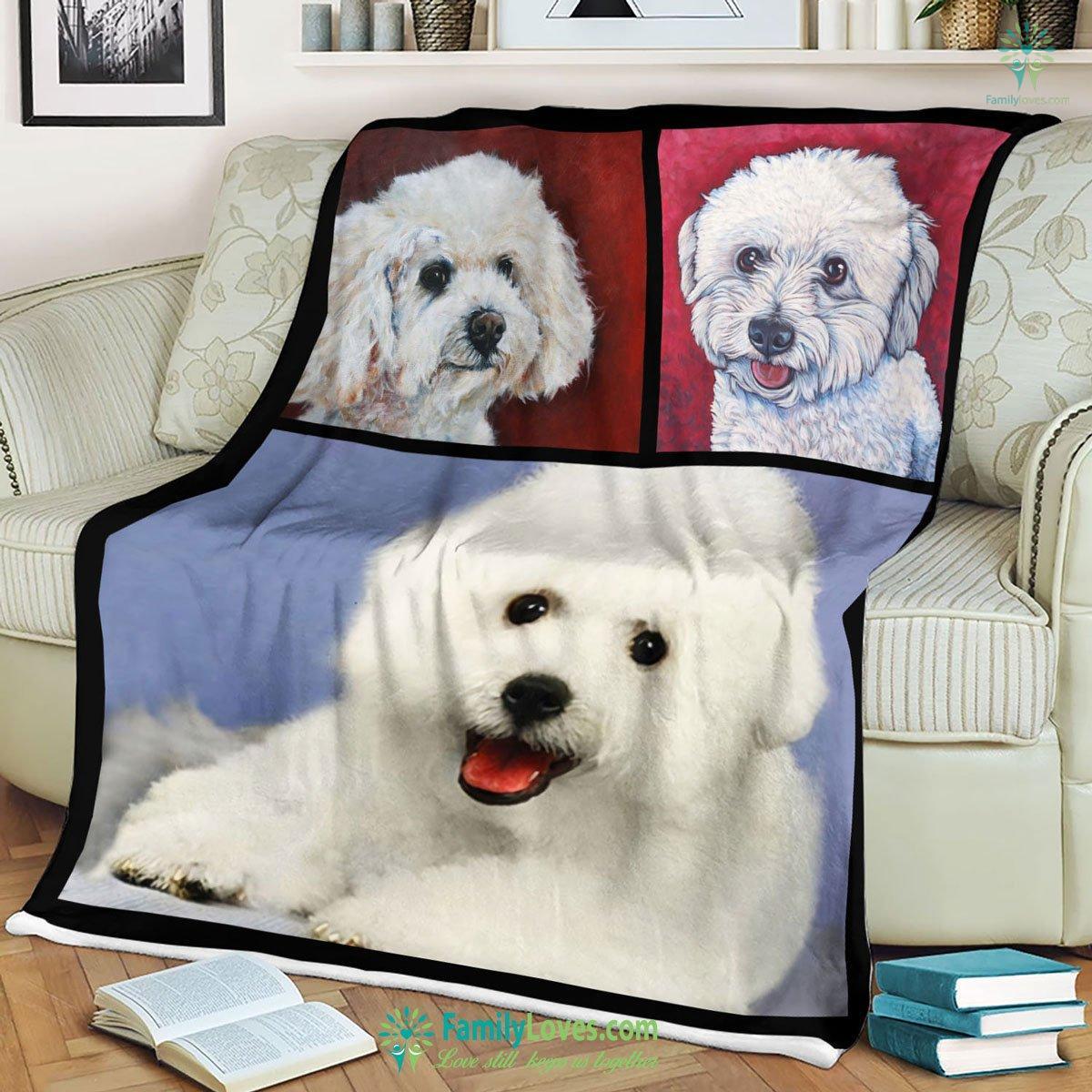 White Dogs Lovely Blanket 17 Familyloves.com