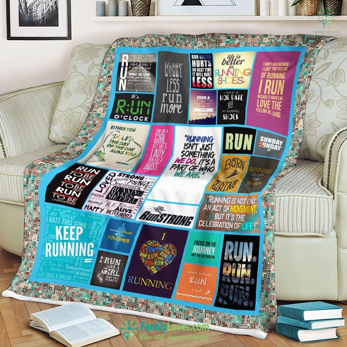 Worry Less Run More Blanket 1 Familyloves.com