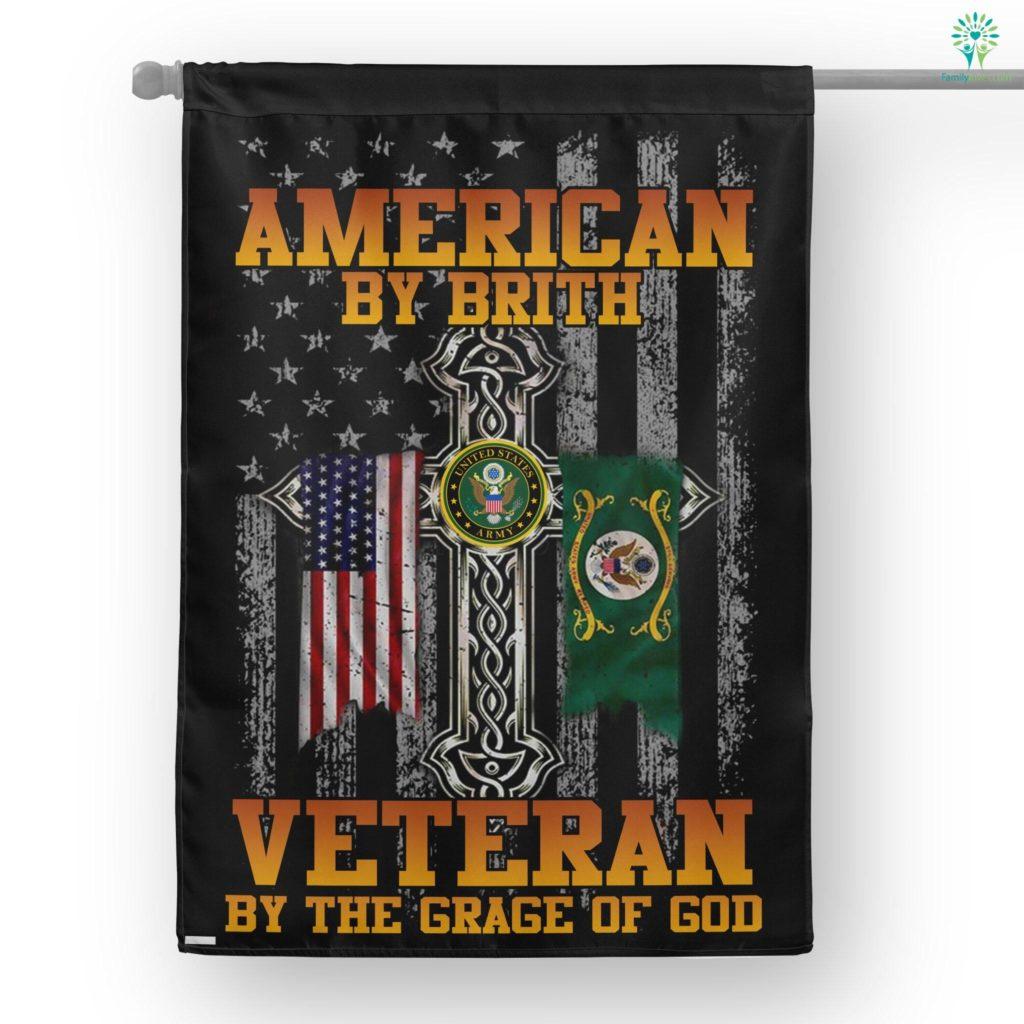 Veteran By The Grace Of God House Flag Familyloves.com