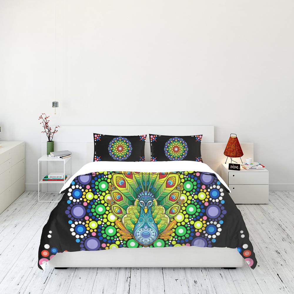 Peacock Mandala Bedding Set Familyloves.com
