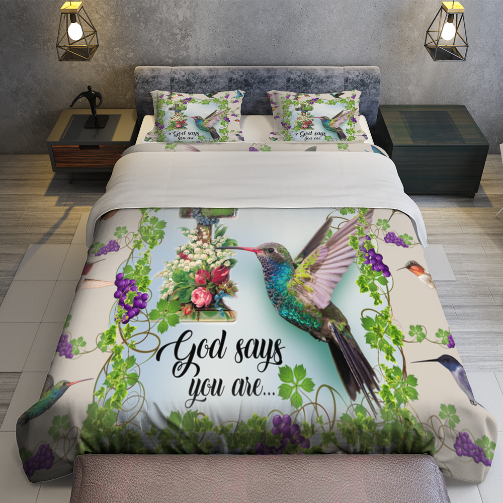Hummingbird God Says You Are Quilt Bedding Set Familyloves.com