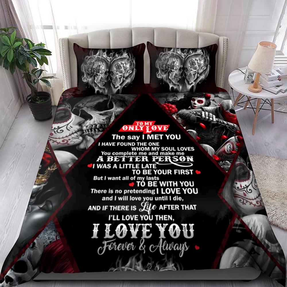 To My Only Love Skull Couple Bedding Set Familyloves.com