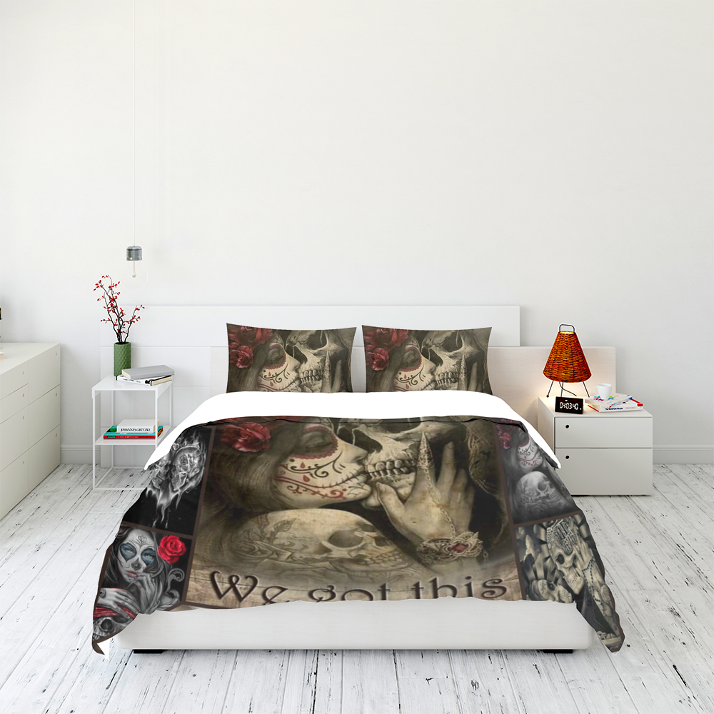 To My Love You And Me We Got This Skull Couple Bedding Set Familyloves.com