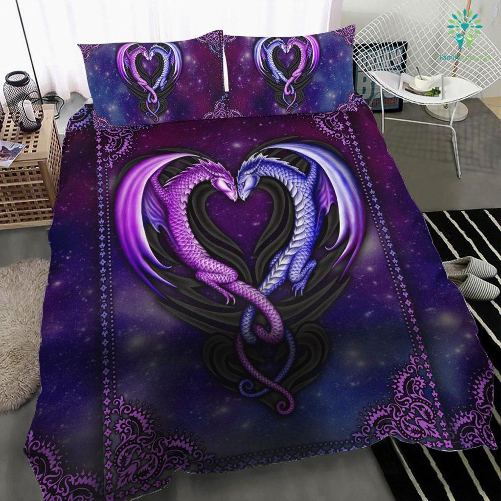 Galaxy Dragon Couple Bedding Set Familyloves.com