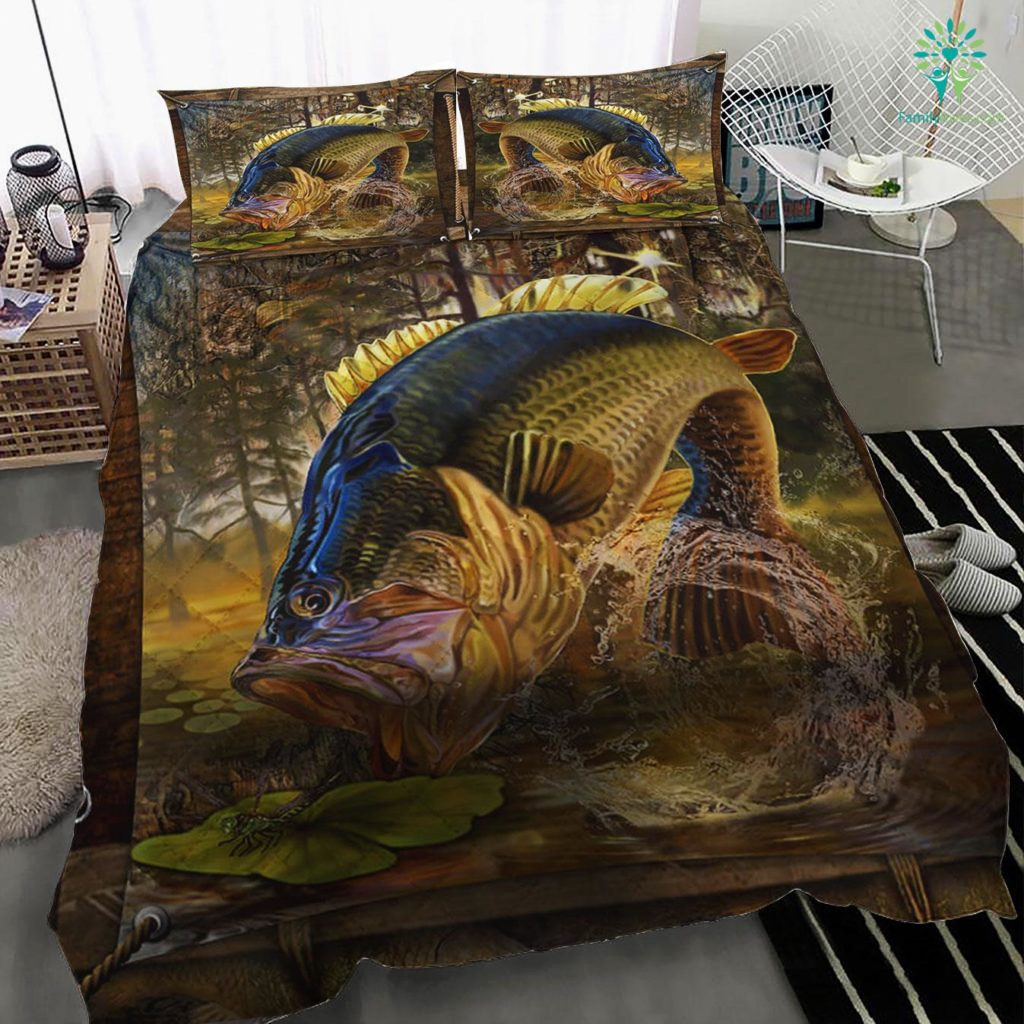 Largemouth Bass Fishing Bedding Set Familyloves.com