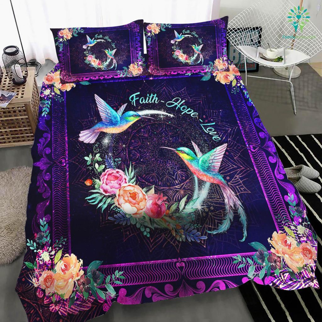 Hummingbird Faith Hope Love Quilt Bedding Set Familyloves.com
