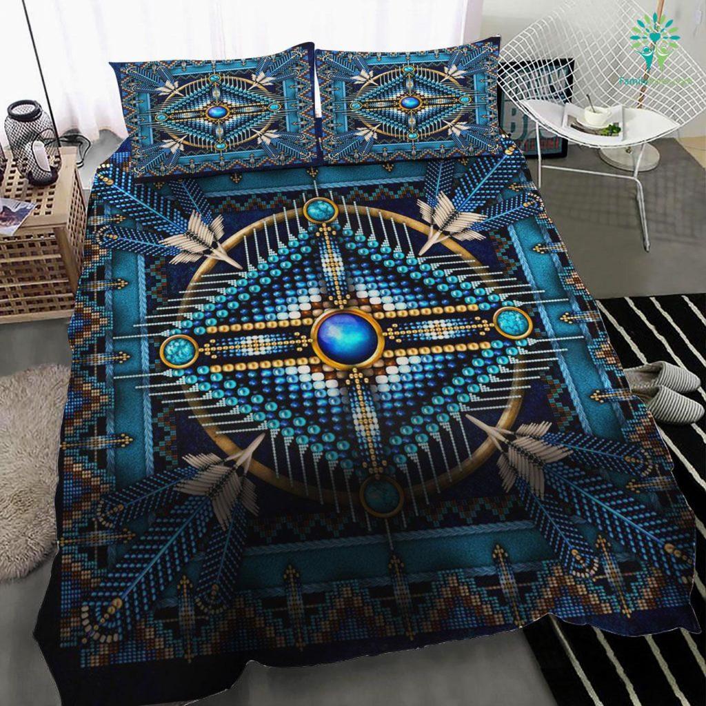 Mandala Blue Native American Quilt Bedding Set Familyloves.com