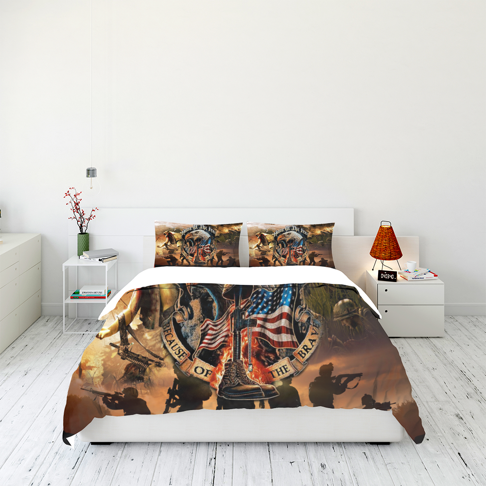 Veteran Home Of The Free Because Of The Brave Bedding Set Familyloves.com