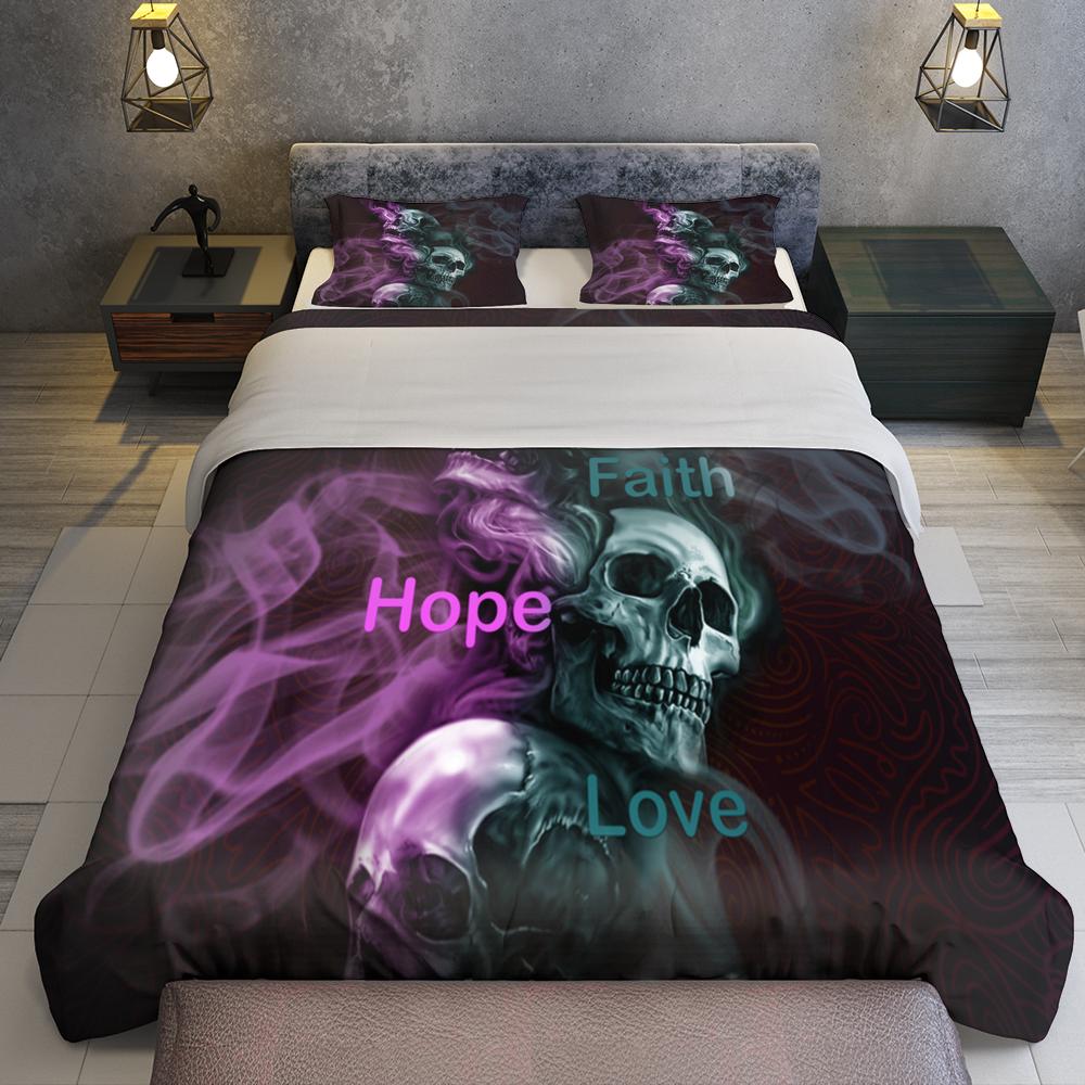 Skull Faith Hope Love Quilt Bedding Set Familyloves.com