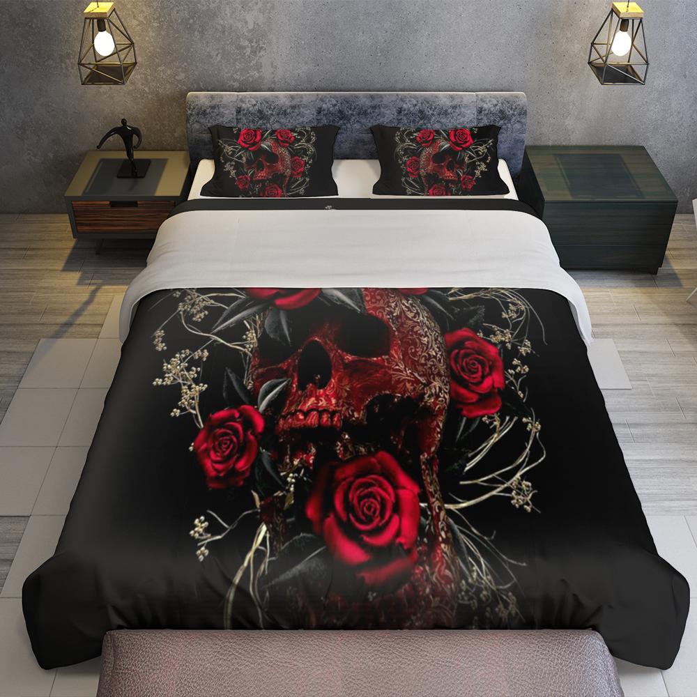 Rose Flowers Sugar Skull Bedding Set Familyloves.com