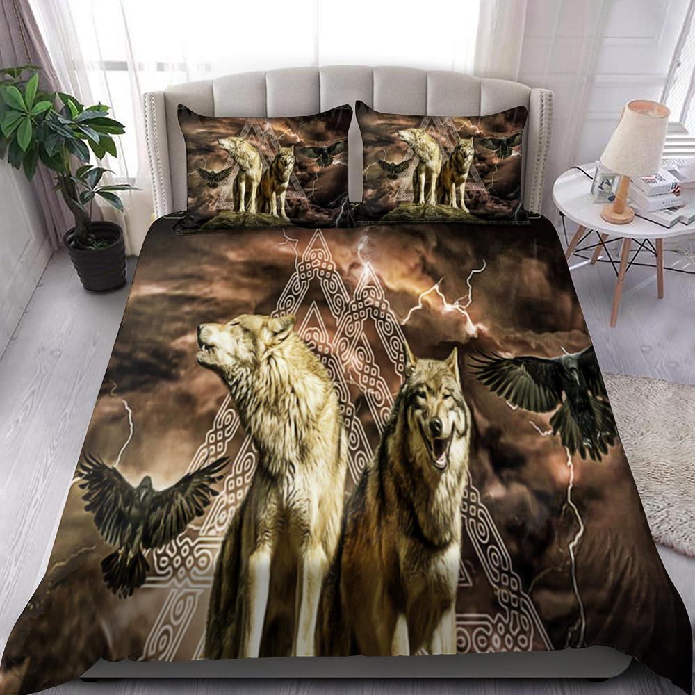 Viking Wolf Quilt Bedding Set Familyloves.com