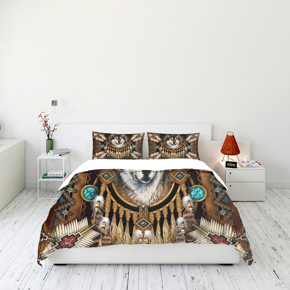 Native American Wolf Spirit Quilt Bedding Set Familyloves.com