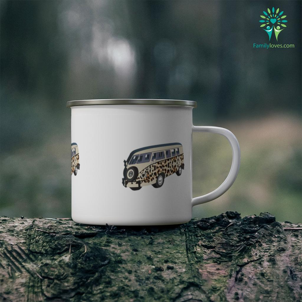 Camper Camping Car Heart Peace Symbol Leopard Cheetah Print Camping Mug Familyloves.com