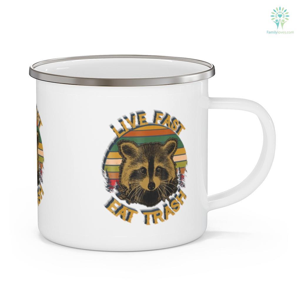 Live fast eat Trash Funny Raccoon Camping Vintage Camping Mug Familyloves.com