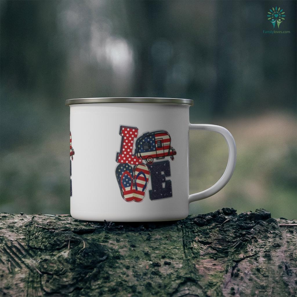 Love Camping USA Flag Flip Flop Camper USA Flag Patriot Camping Mug Familyloves.com