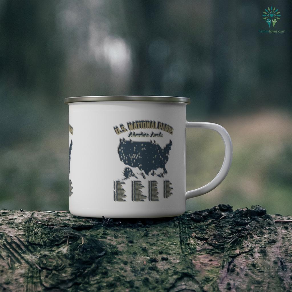 National Parks Map US Camping Hiking Outdoor Men Women Camping Mug Familyloves.com