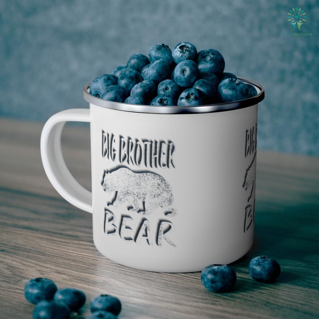 Vintage Big Brother Bear Gift for Women Shirt Cute Camping Mug Familyloves.com