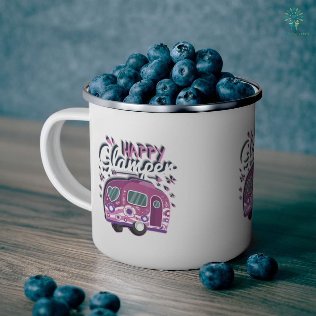 Happy Glamper Caravan Camping Glamping Gear Camping Mug Familyloves.com