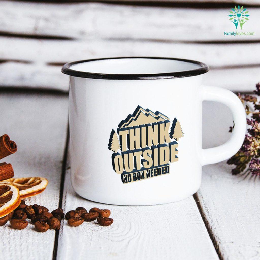 Camper Gift Think Outside No Box Needed Funny Camping Mug Familyloves.com