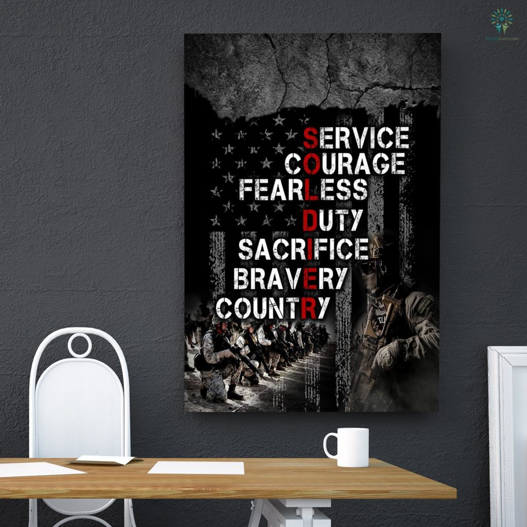 American Veteran Soldier Service Courage Fearless Duty Sacrifice Bravery Country Canvas Familyloves.com