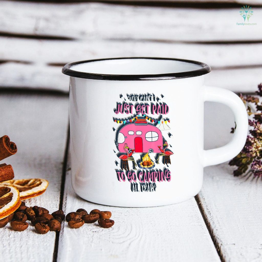Funny Pink Flamingo Bird Camper Camping Gift for Woman Girls Camping Mug Familyloves.com