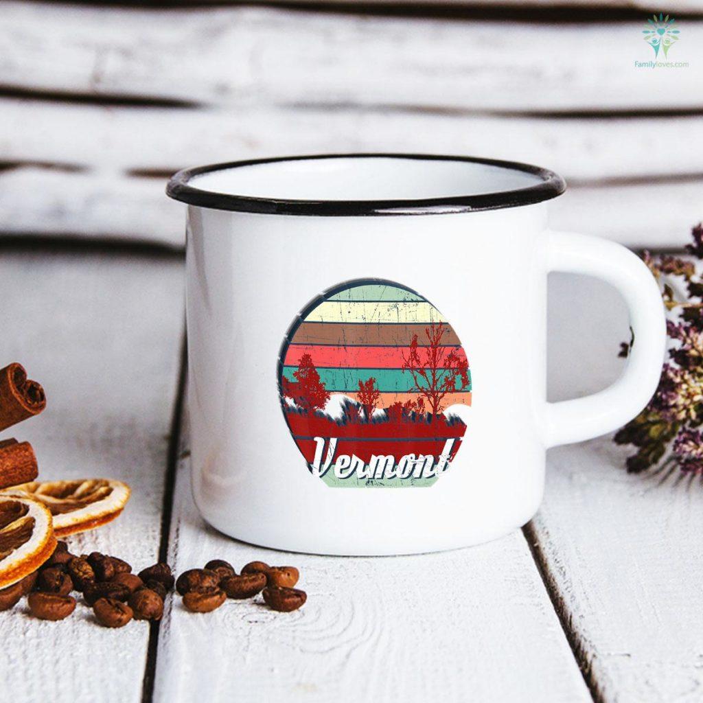 Retro Color Distressed Design Vermont Travel Camping Mug Familyloves.com