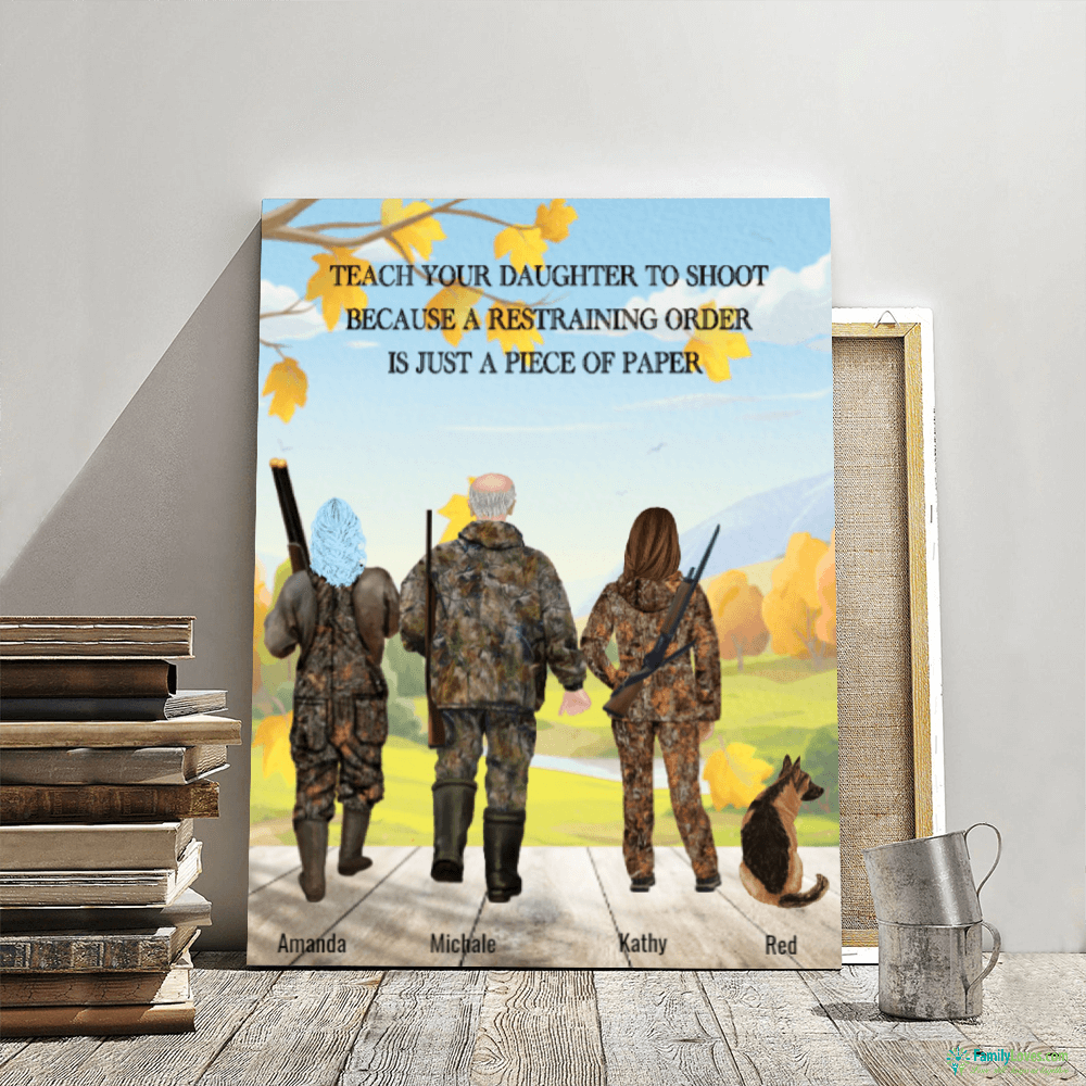 Personalized Hunting Canvas, Hunting Name Poster, Custom Name hunting Blanket, Teach your daughter canvas Familyloves.com
