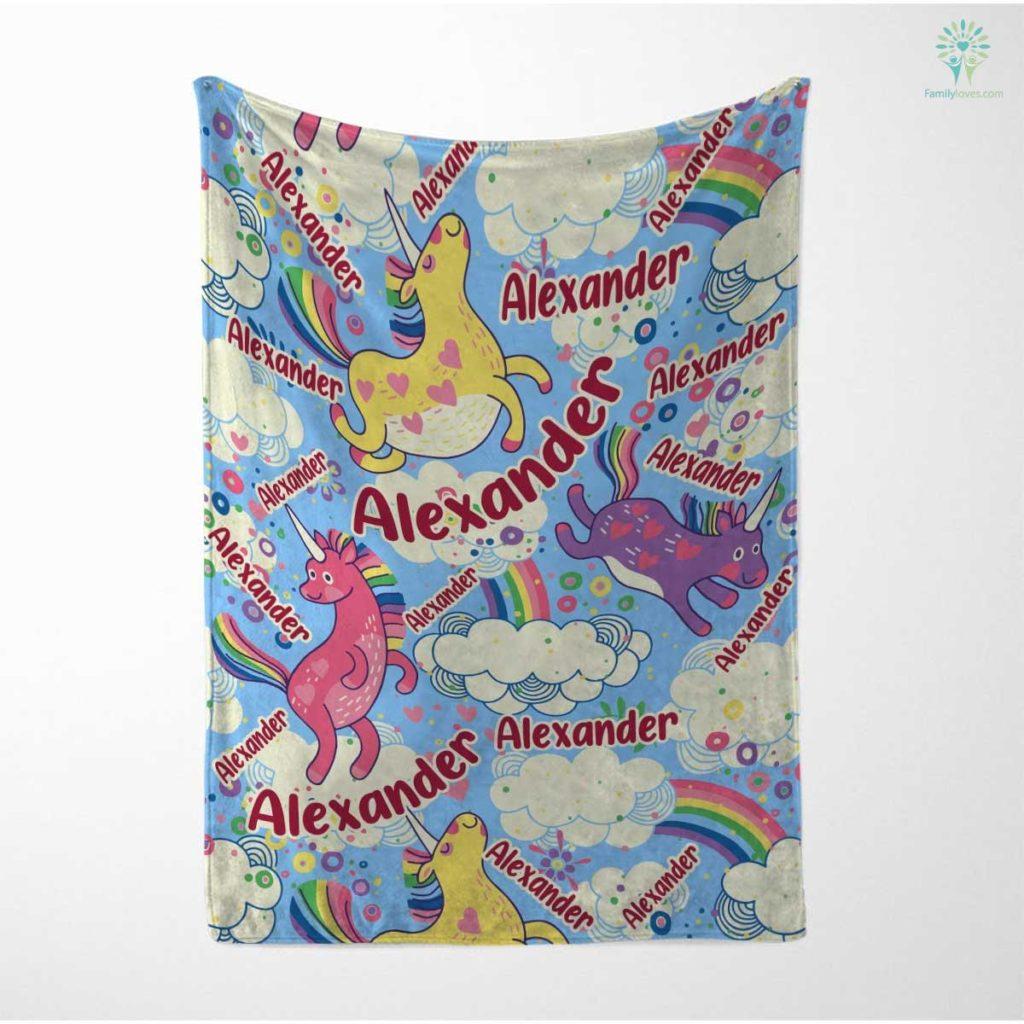 Personalized Baby Blanket, Funny Unicorn Blanket, Baby Girl Blanket, Baby Boy Blanket, Baby Velveteen Plush Blanket Familyloves.com