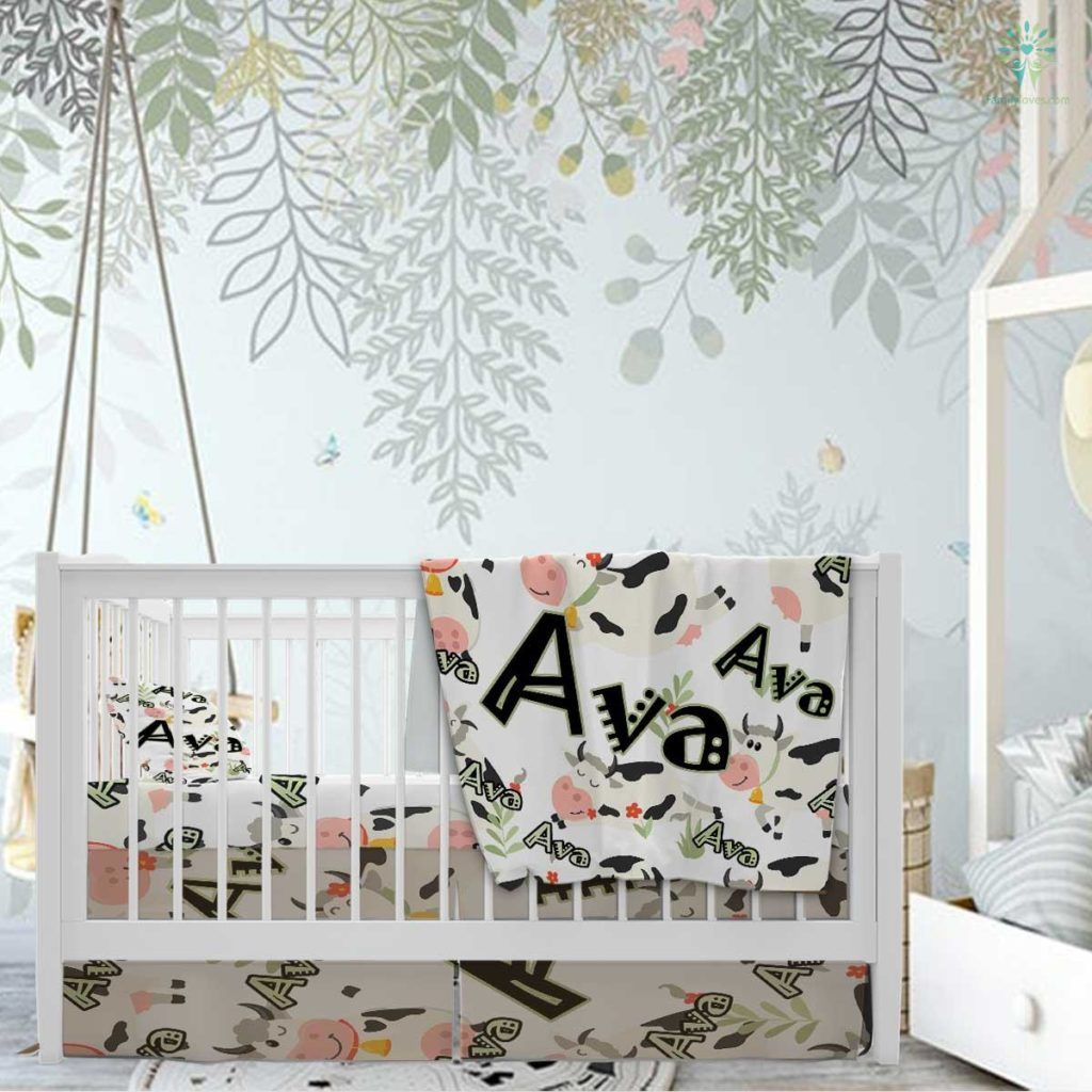 Personalized Baby Blanket, Baby Girl Blanket, Baby Boy Blanket, Baby Velveteen Plush Blanket, Cows Blanket Familyloves.com