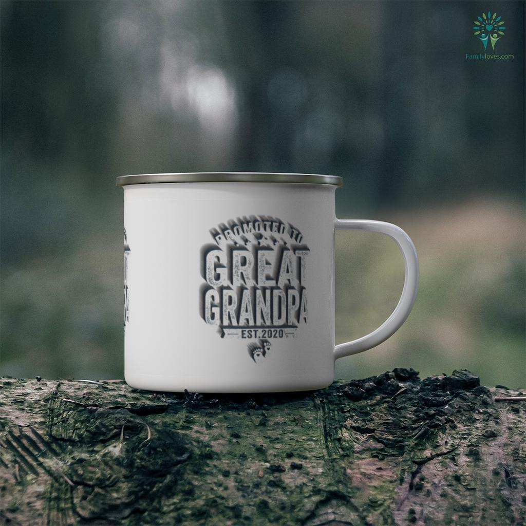 Promoted To Great Grandpa est 2020 Father's Day Mug Familyloves.com
