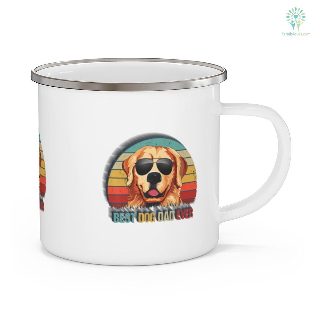 Mens Best Dog Dad Ever Golden Retriever Father's Day Mug Familyloves.com