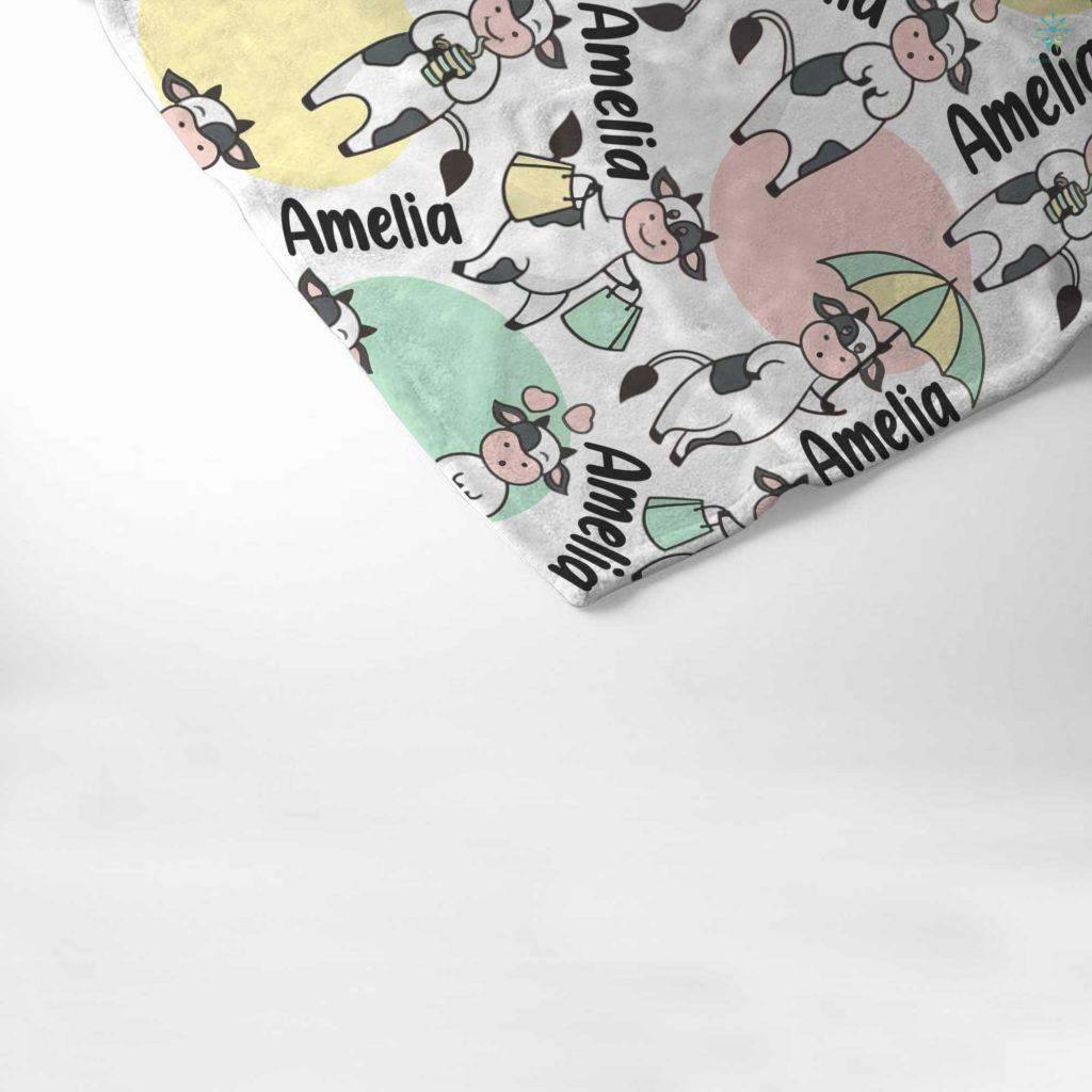 Personalized Baby Blanket, Baby Girl Blanket, Baby Boy Blanket, Baby Velveteen Plush Blanket, Funny Cows Blanket Familyloves.com