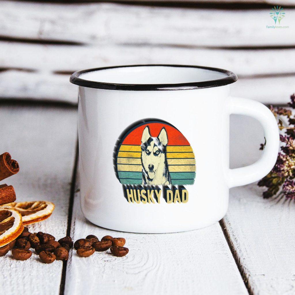 Mens Vintage Husky Dad For Dog Lover Father's Day Mug Familyloves.com