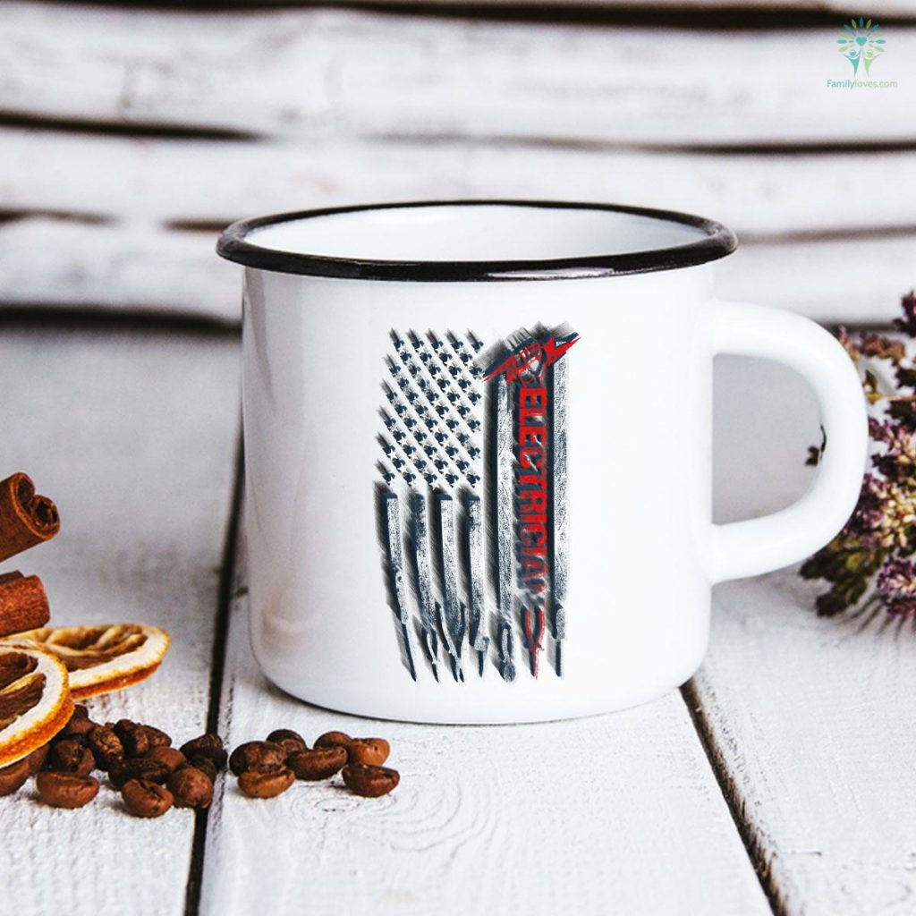 Patriotic Electrician American Flag Father's Day Mug Familyloves.com