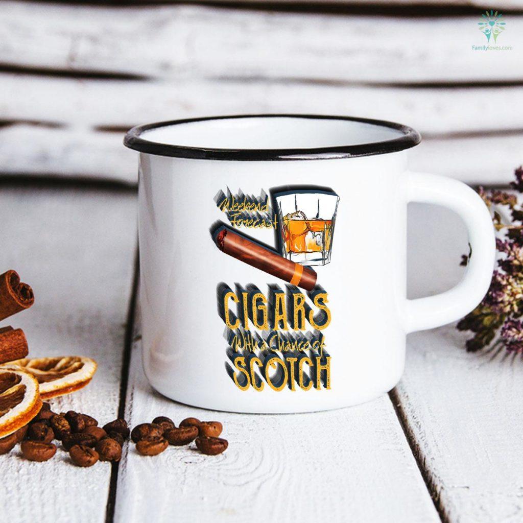 Weekend Forecast Cigars Chance of Bourbon Father's Day Mug Familyloves.com