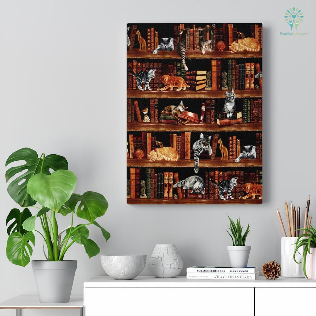 Cats And Bookcase Canvas Familyloves.com