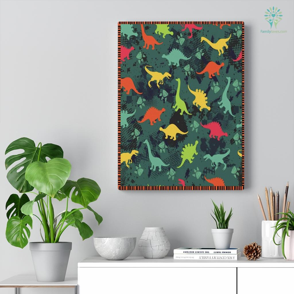 Colorful Dinosaurs Canvas Familyloves.com