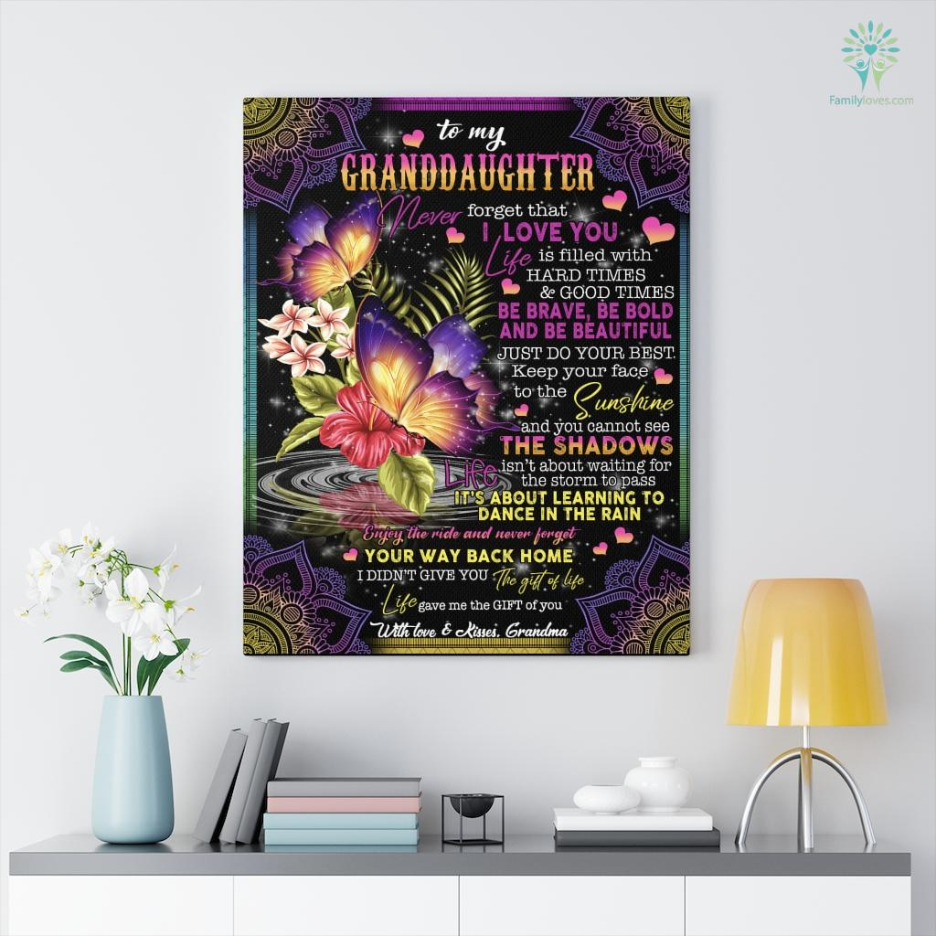 Butterfly Grandma Be Brave Be Bold And Be Beautiful To My Grand Daughter Canvas Familyloves.com
